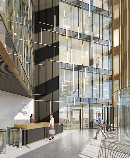 A 6-storey atrium reception is an impressive welcome to 35 Shelbourne Road
