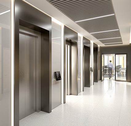 Four high-speed KONE lifts connect eight office floors at 35 Shelbourne Road